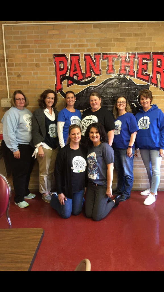 """6th Grade sporting their """"Wonder"""" attire. All 6th graders went to see the movie on a field trip."""