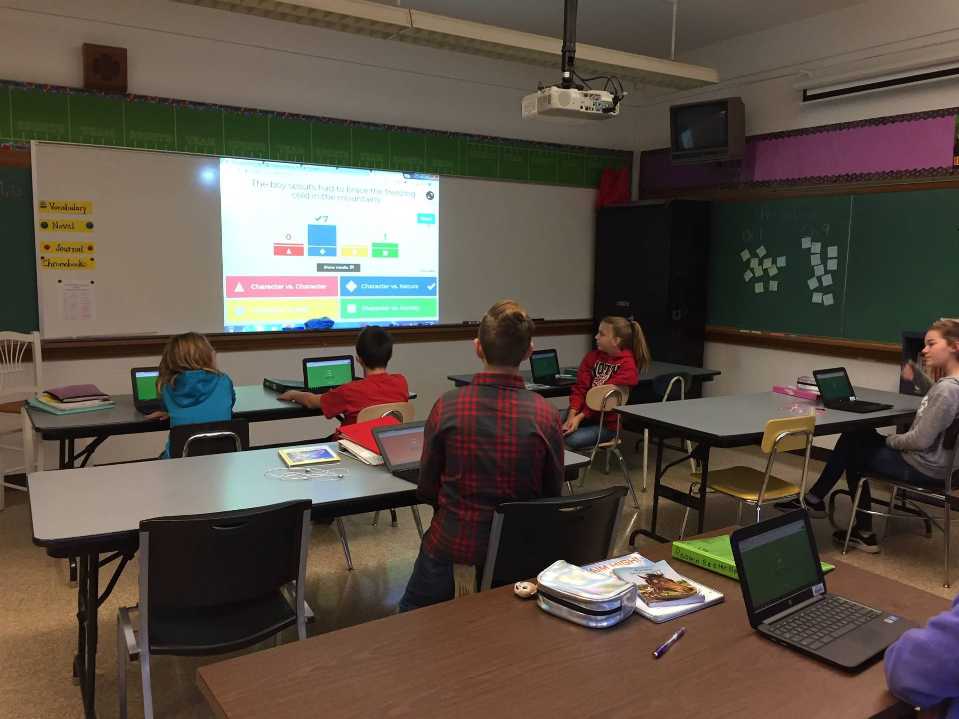 Mrs. Thompson's Class Using Kahoot to See What They Know About Types of Conflict in Literature