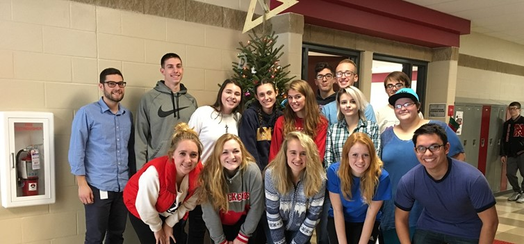 "Mr. Pacifico's AP Calculus Class  in Front of the ""Geometree"""