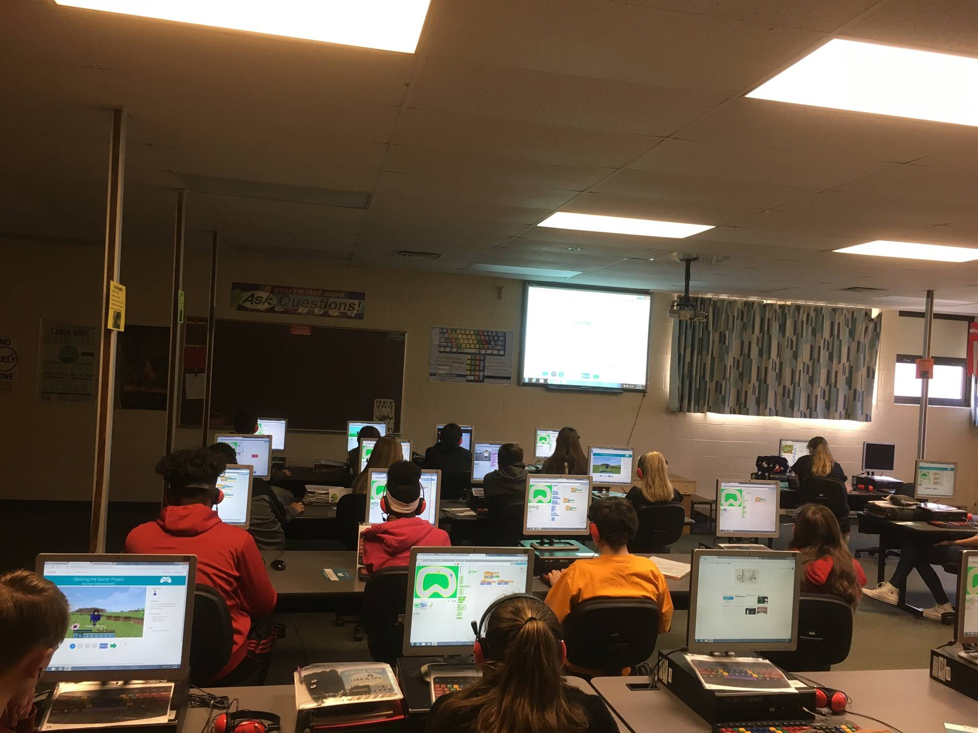 Students are using Scratch to code during Computer Science Education Week in Mr. Frase's classes.