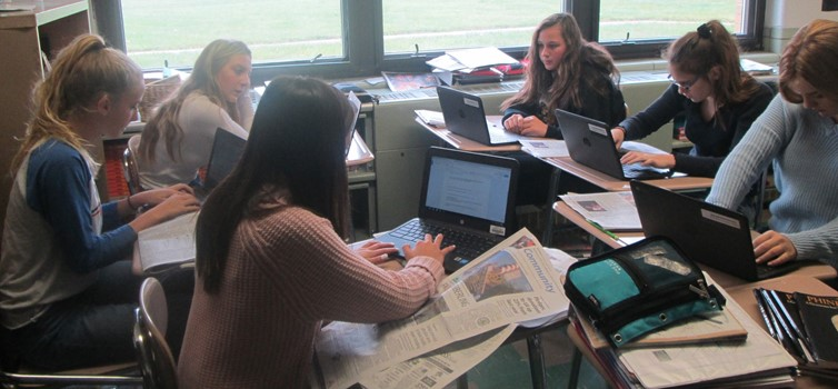 8th Grade Language Arts Students in Mrs. Fabish-Rupert's Class Incorporating Google Classroom and the Akron Beacon Journal into Their Learning