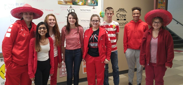 Miss Pilasky's NHS Spanish I Class Wearing Red and White for Candy Cane Spirit Day