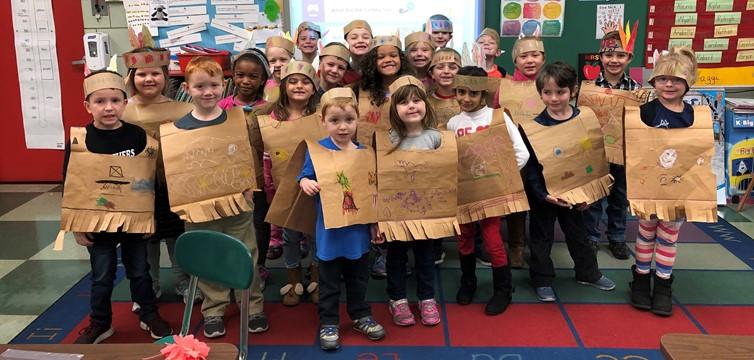 Mrs. Yaggi's Class Celebrating Thanksgiving