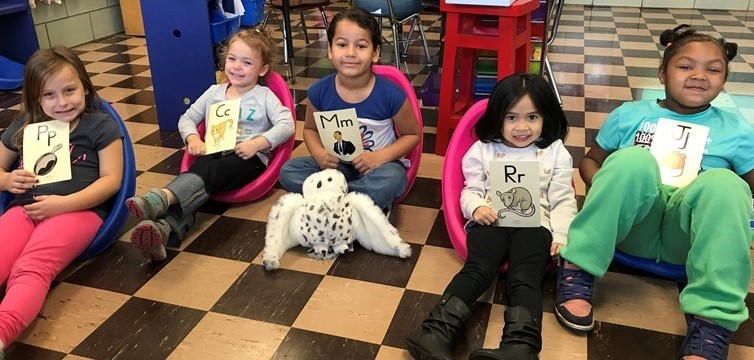 """Kindergarten Students enjoy learning their letter sounds with """"Echo"""" the owl."""