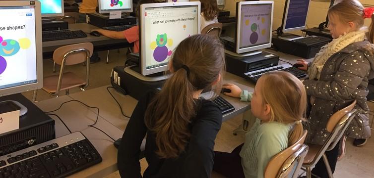 First Graders Using Google Drawings