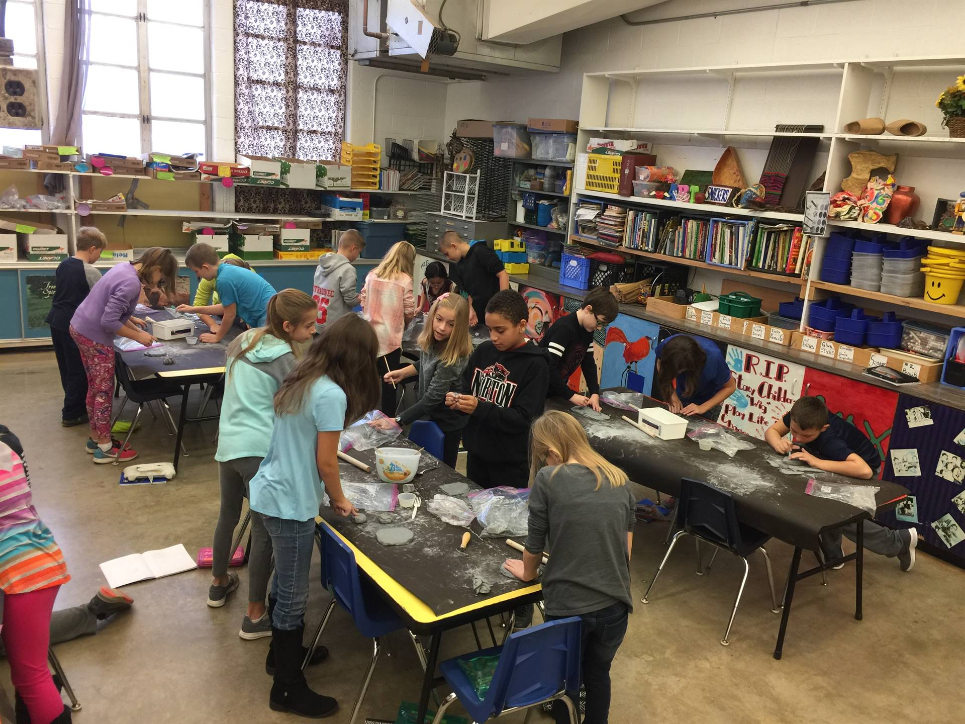 Fourth grade art classes are making clay masks.