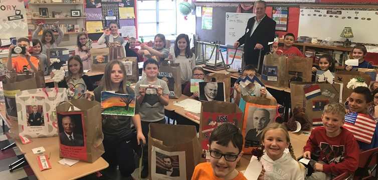 Third graders in Mrs. Campian's class wrapped up their Paper Bag President Reports.