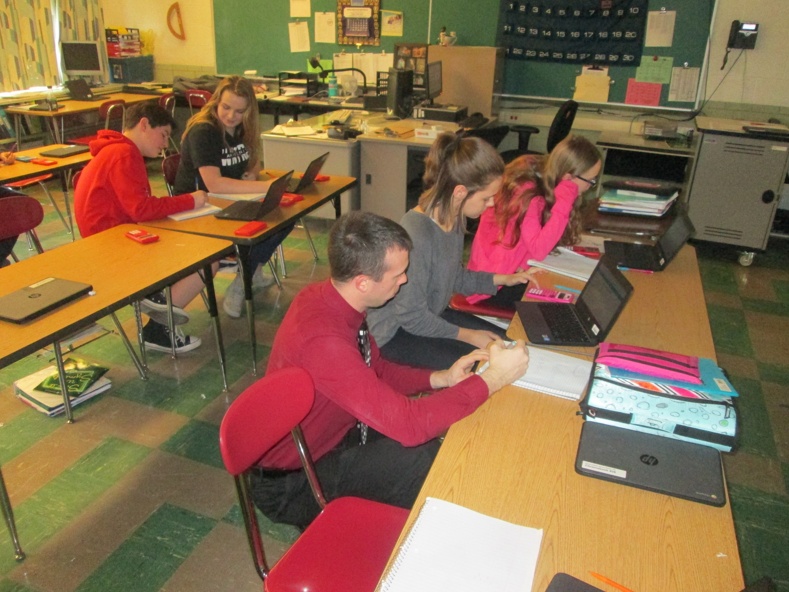 Students are using math review stations in Mr. Leimeister's and Mrs. Underwood's classes.