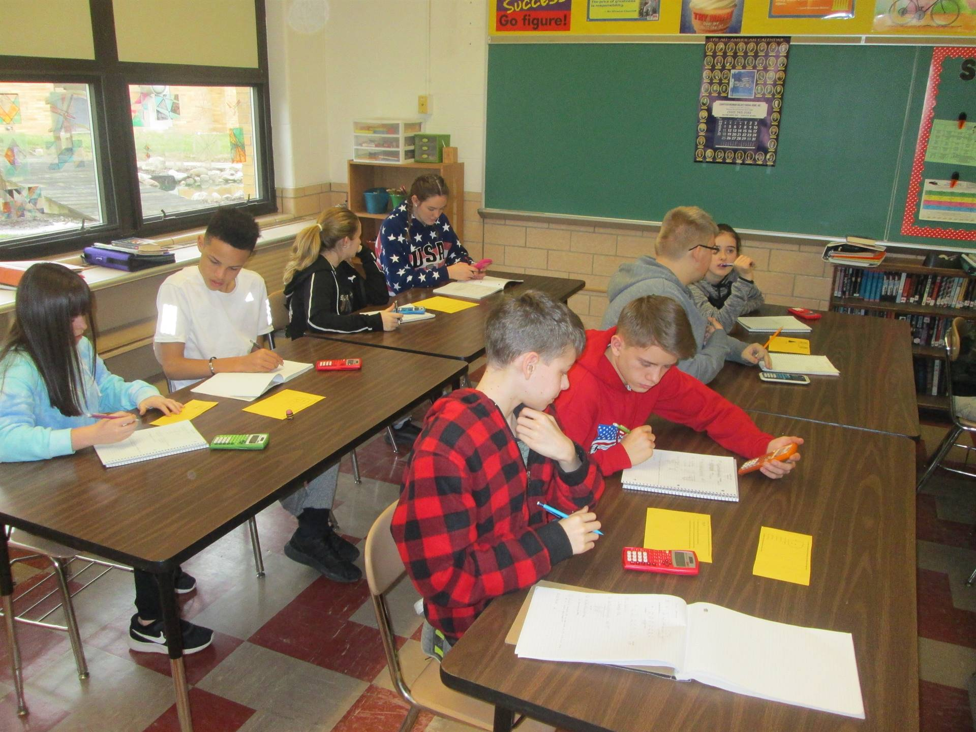 Students using math review stations in Mr. Leimeister's and Mrs. Underwood's classes.