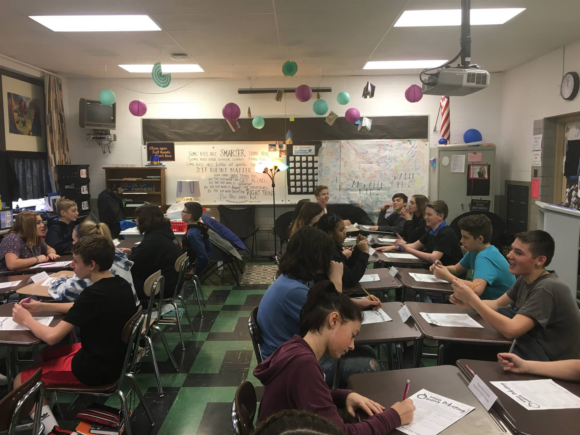 Students in Mrs. Bruce's classroom are practicing the art of persuasion with some speed debating!