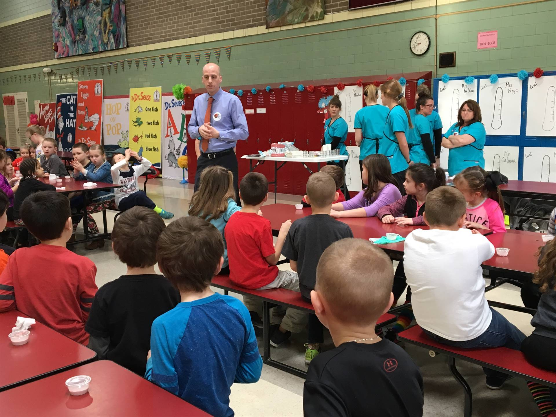 Dr. Barnett and his staff visit the second graders during Dental Health Month.