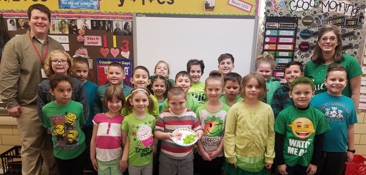 Mrs. Camilletti's class tried green eggs and ham during Read Across America with Dr. Seuss.