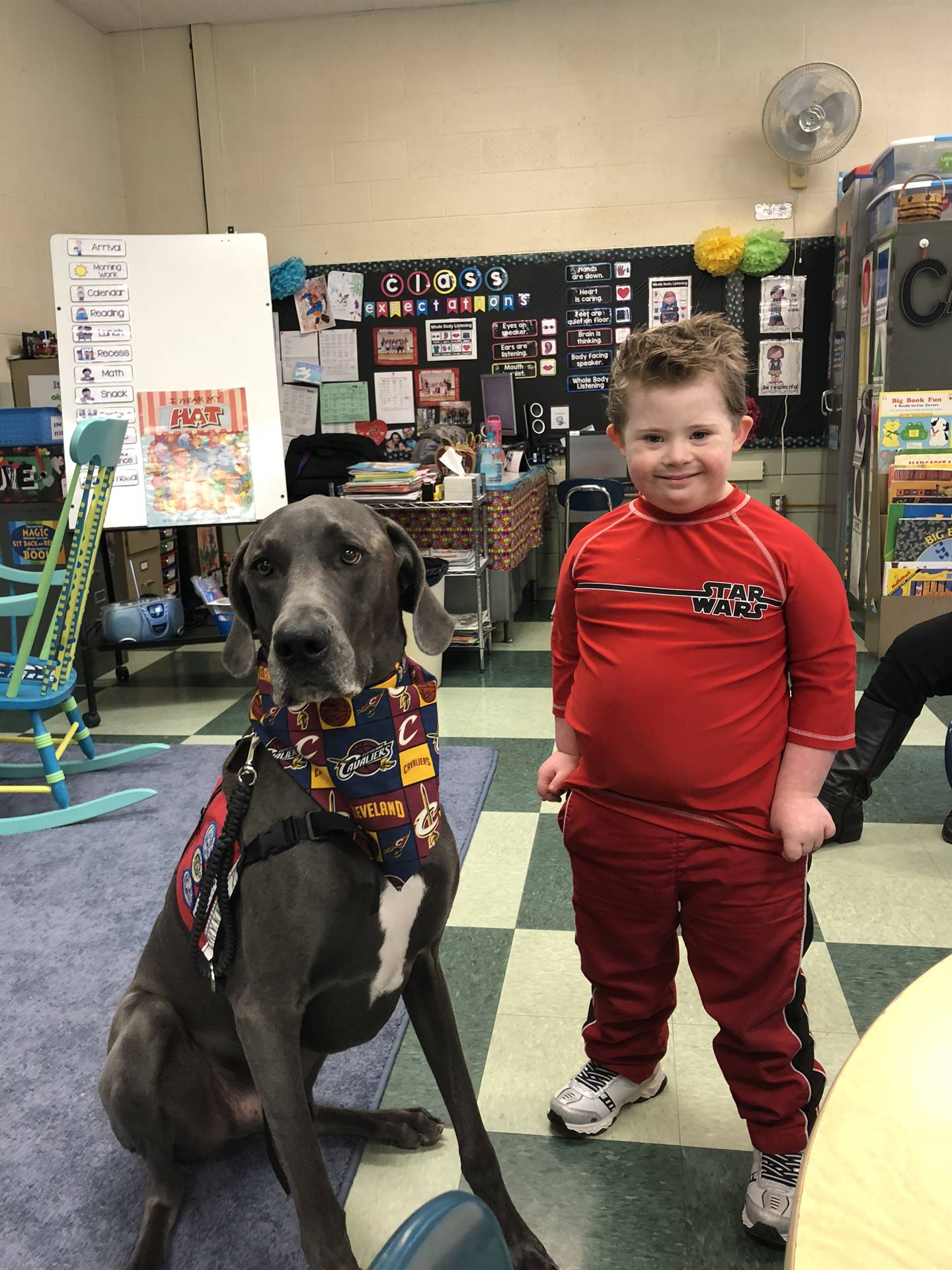 Trigger the therapy dog came to visit Primary today for Right to Read week!