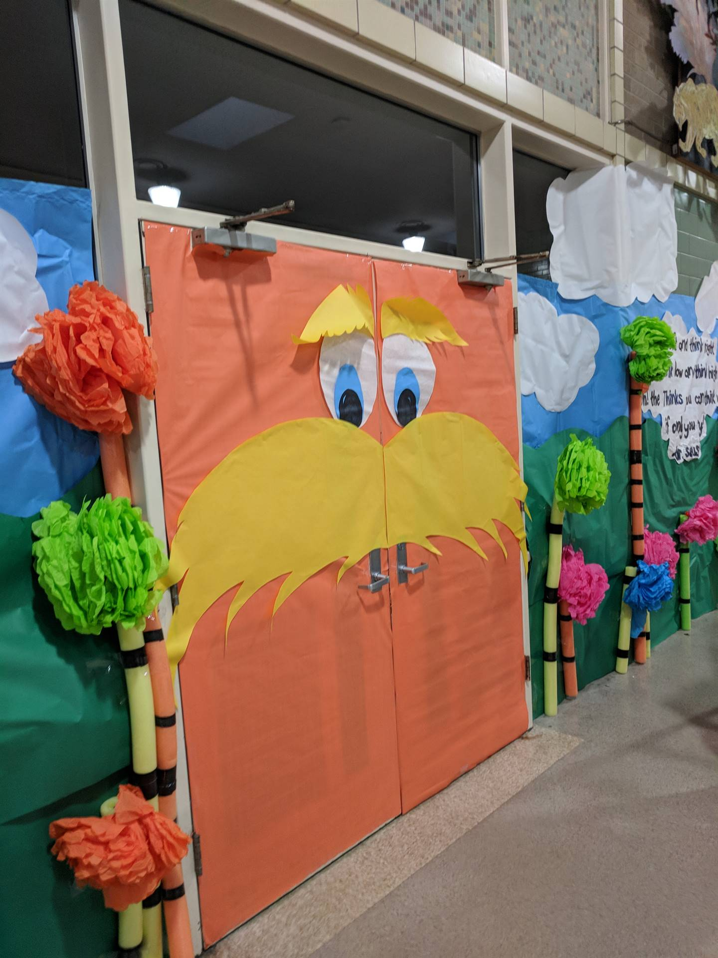 Set up for Dr. Seuss week at NES!