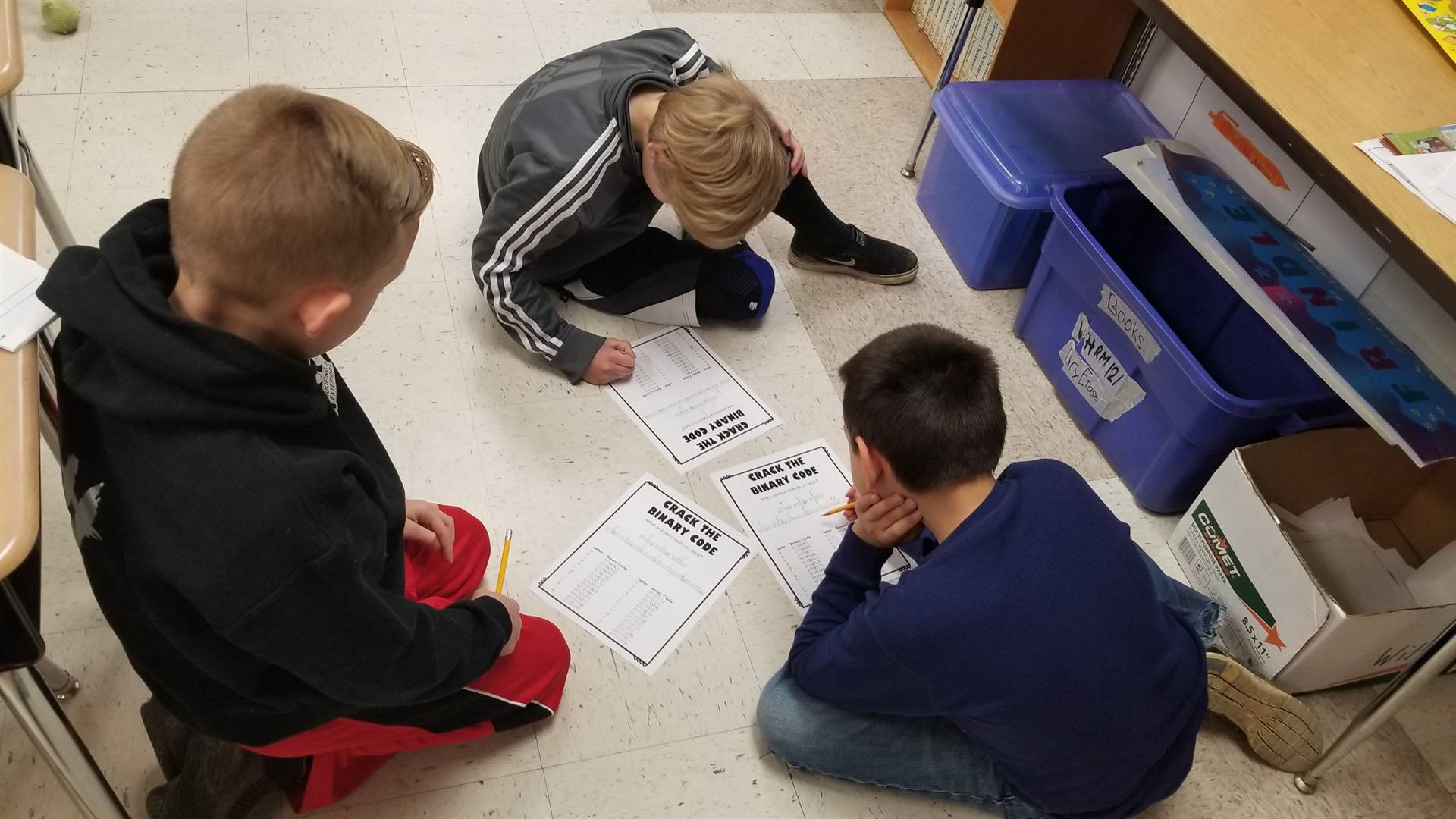 Fourth grade students working on an unplugged coding activity in Achievement.