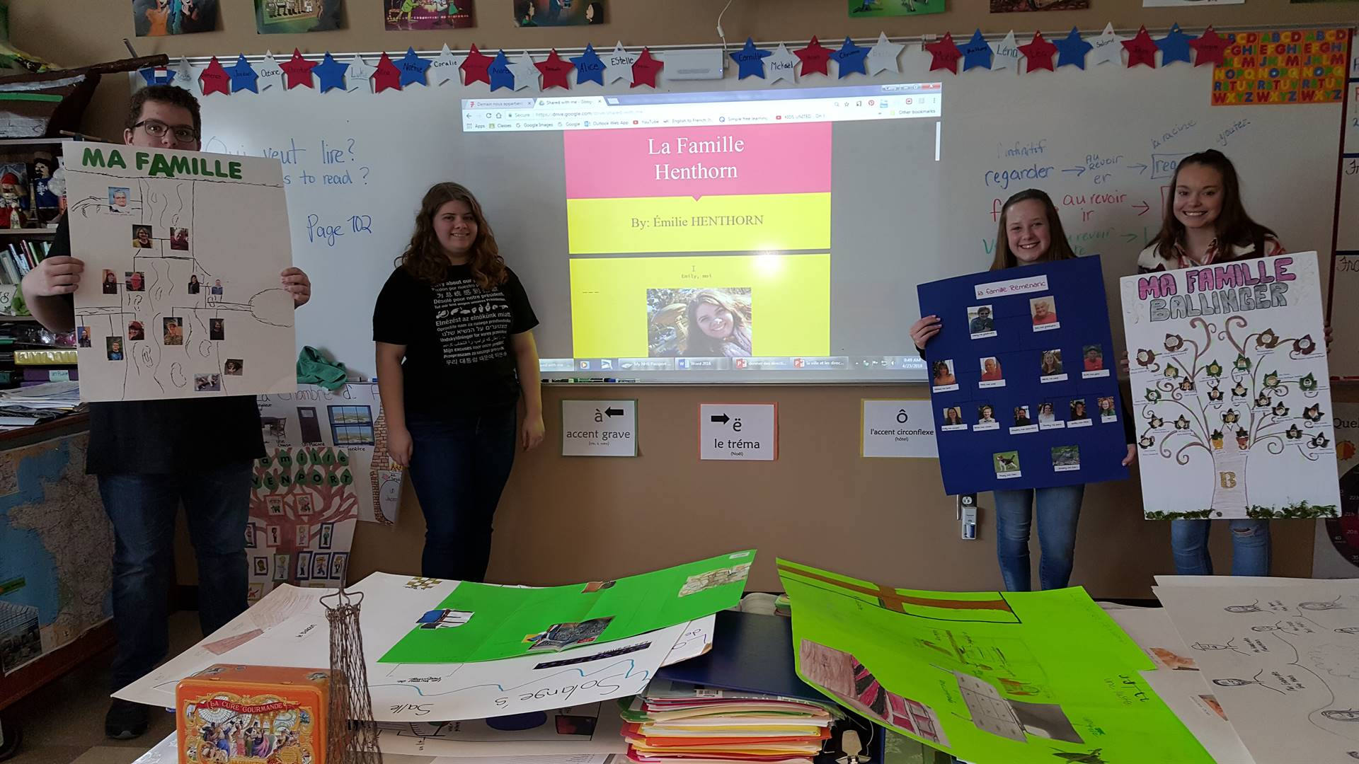 Madame Campensa's French class family tree project.