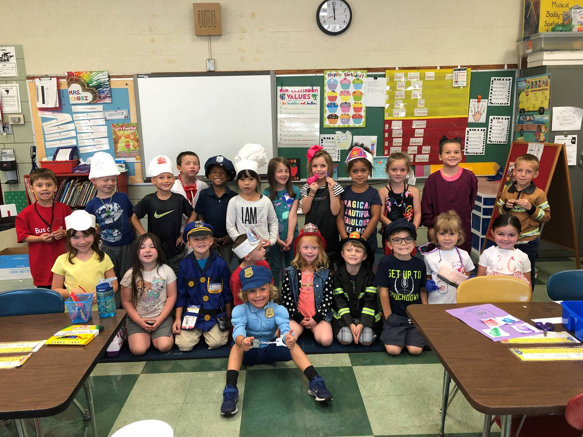 More kindergarten students learning about community helpers!