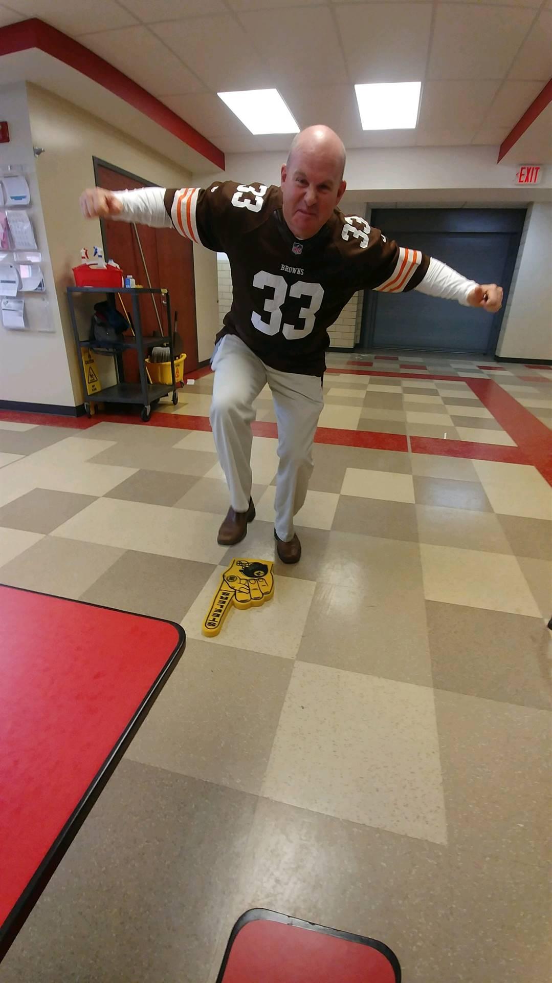 Mr. Dobbins has had enough of the Steelers' Foam Finger!