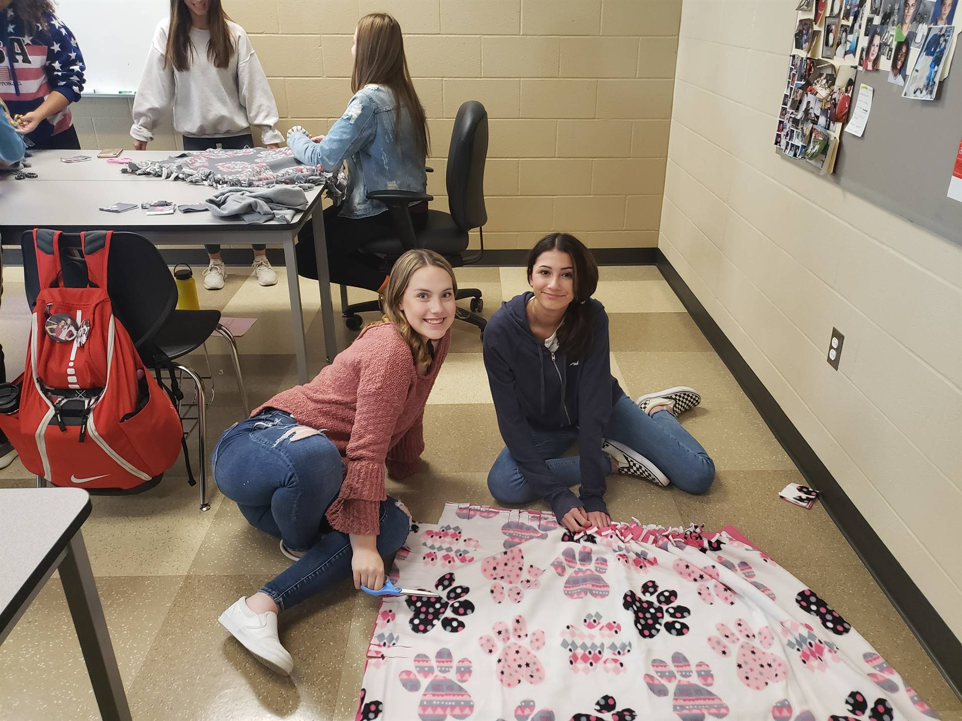 Key Club made no sew blankets to donate to One of a Kind Pets.