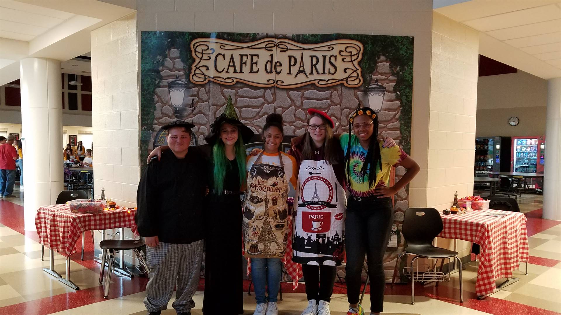 """Madame Campensa's French students created a """"Spooktacular"""" café."""