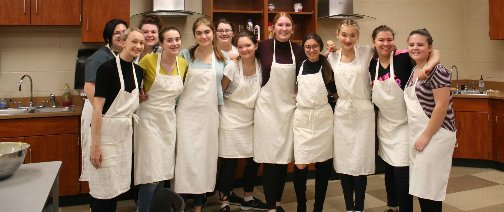 FCCLA and Global Foods students making the Veterans' Day breakfast.