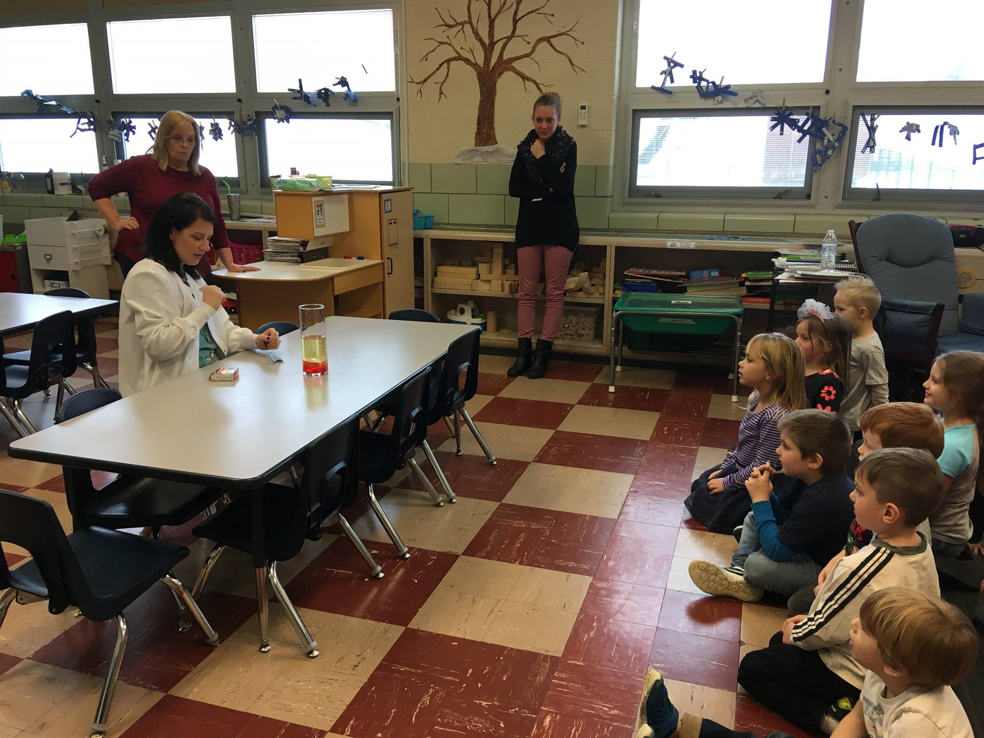 Mrs. Lansing's PreK class is observing their weekly science experiment.