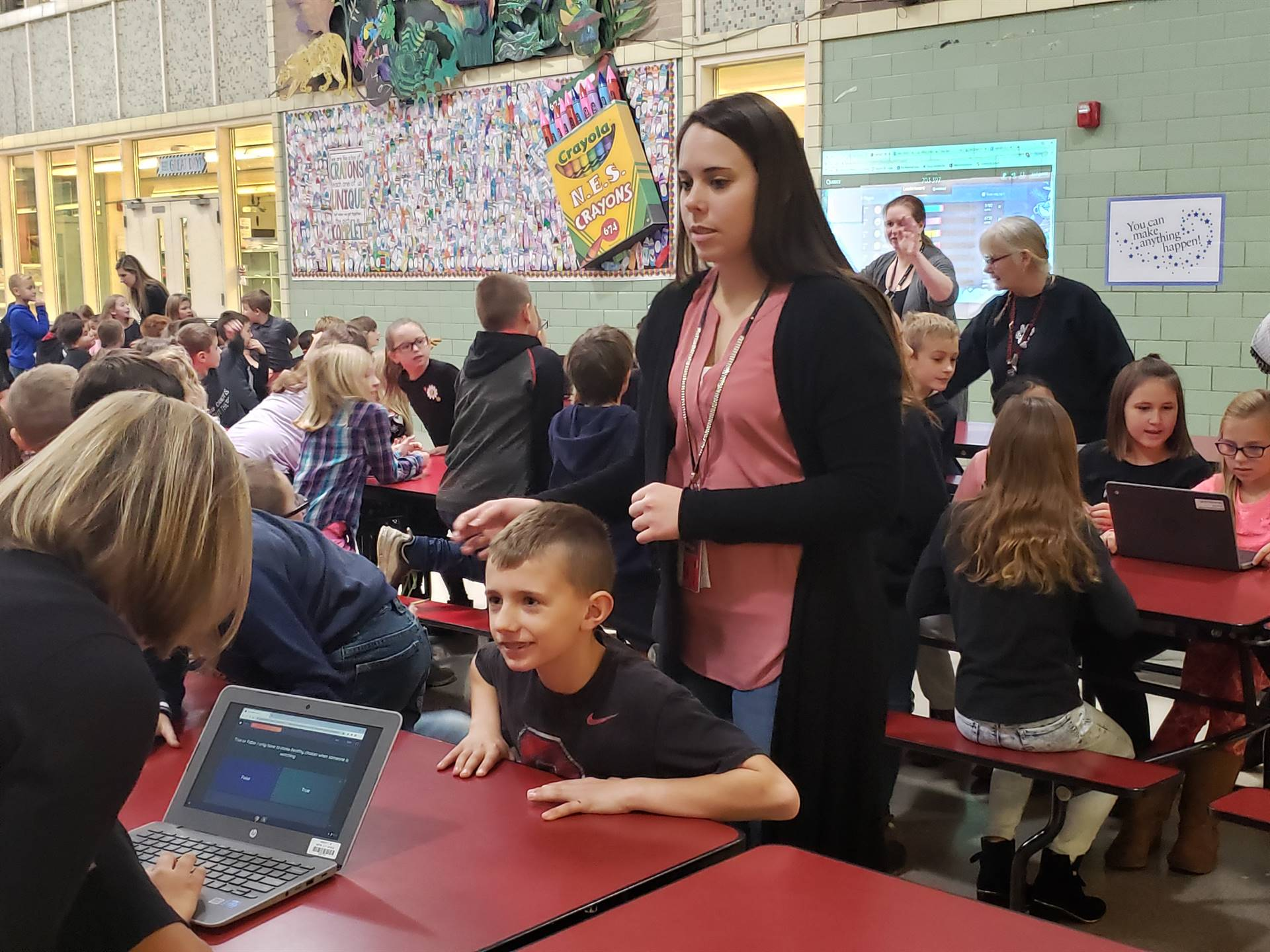Third graders and their teachers participate in an activity for Really Excellent Decisions