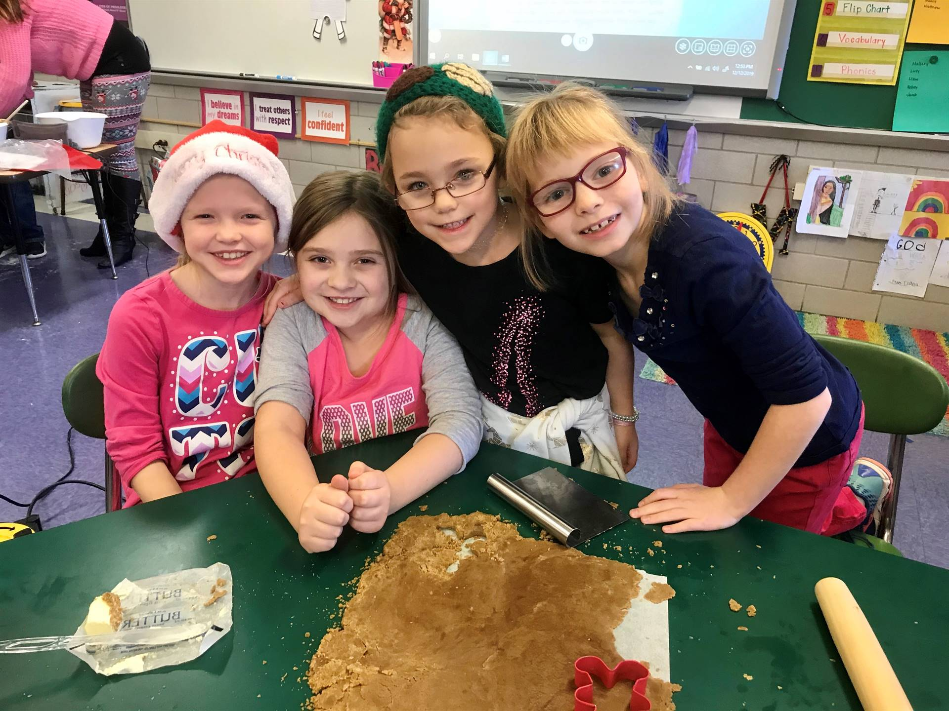 Students in Mrs. Myers class had fun making gingerbread cookies.
