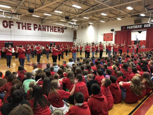 WE ROAR DAY 2 - HS Band performing at MS.