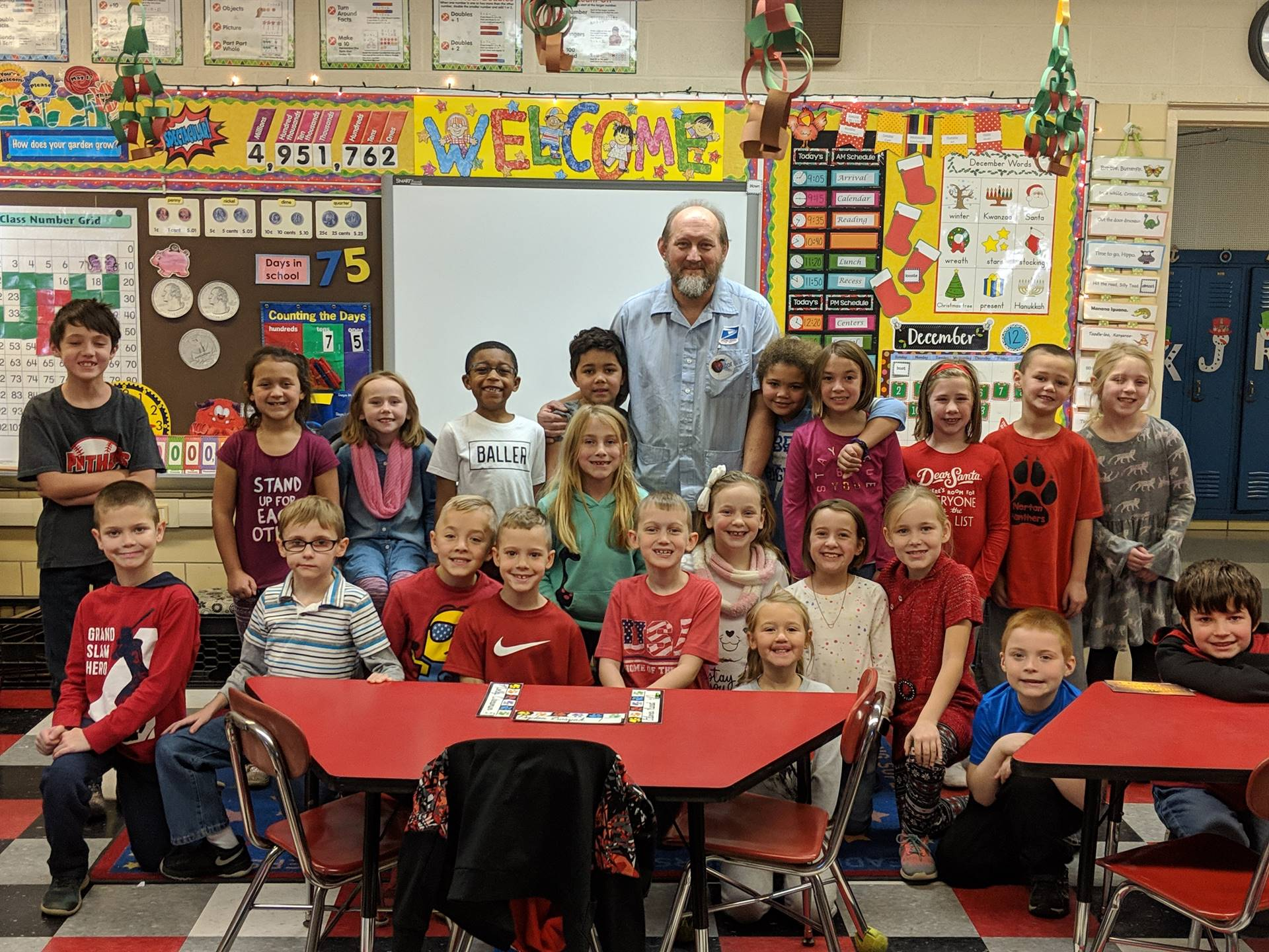 Mrs. Camilletti's class visited with Mr. Kreiger -a Norton mail carrier with 32 years of service.