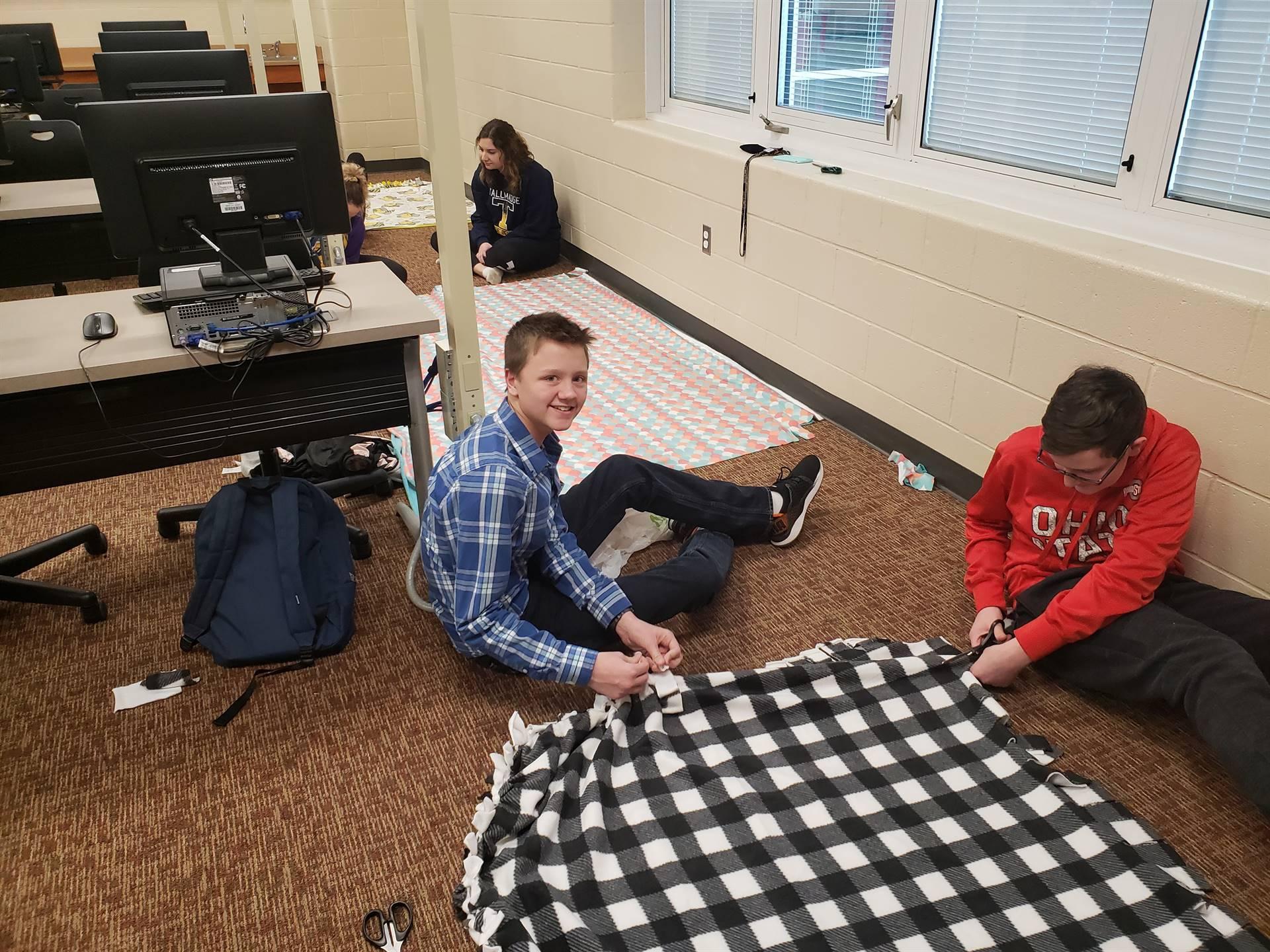 Key Club Making Blankets for Battered Women's Shelter