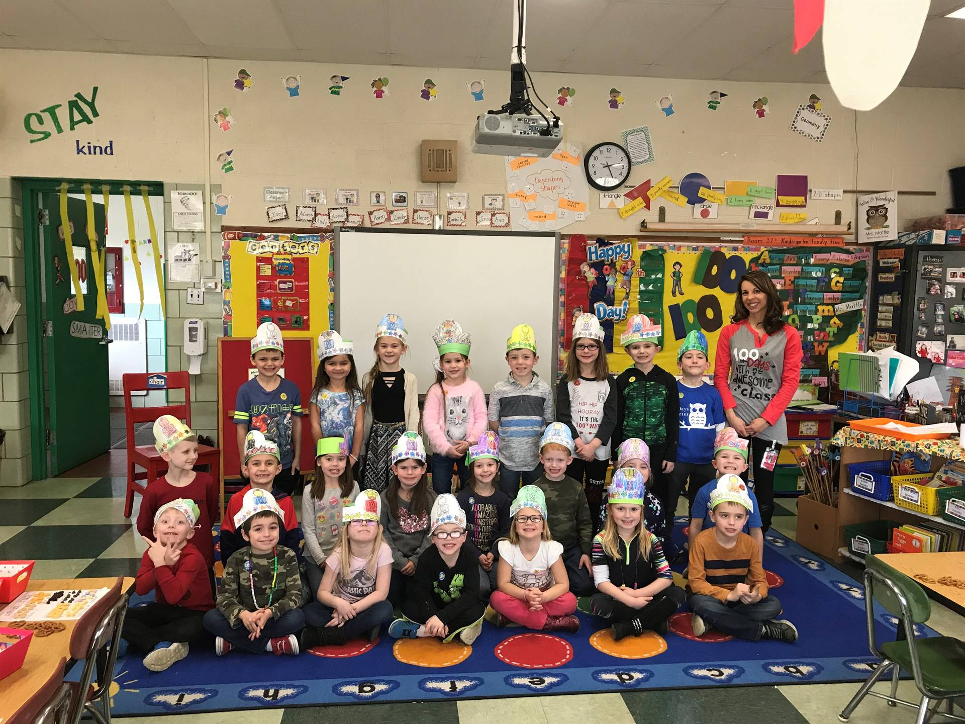 Mrs. Mattle's class celebrated the 100th Day with literacy, math and science stations!