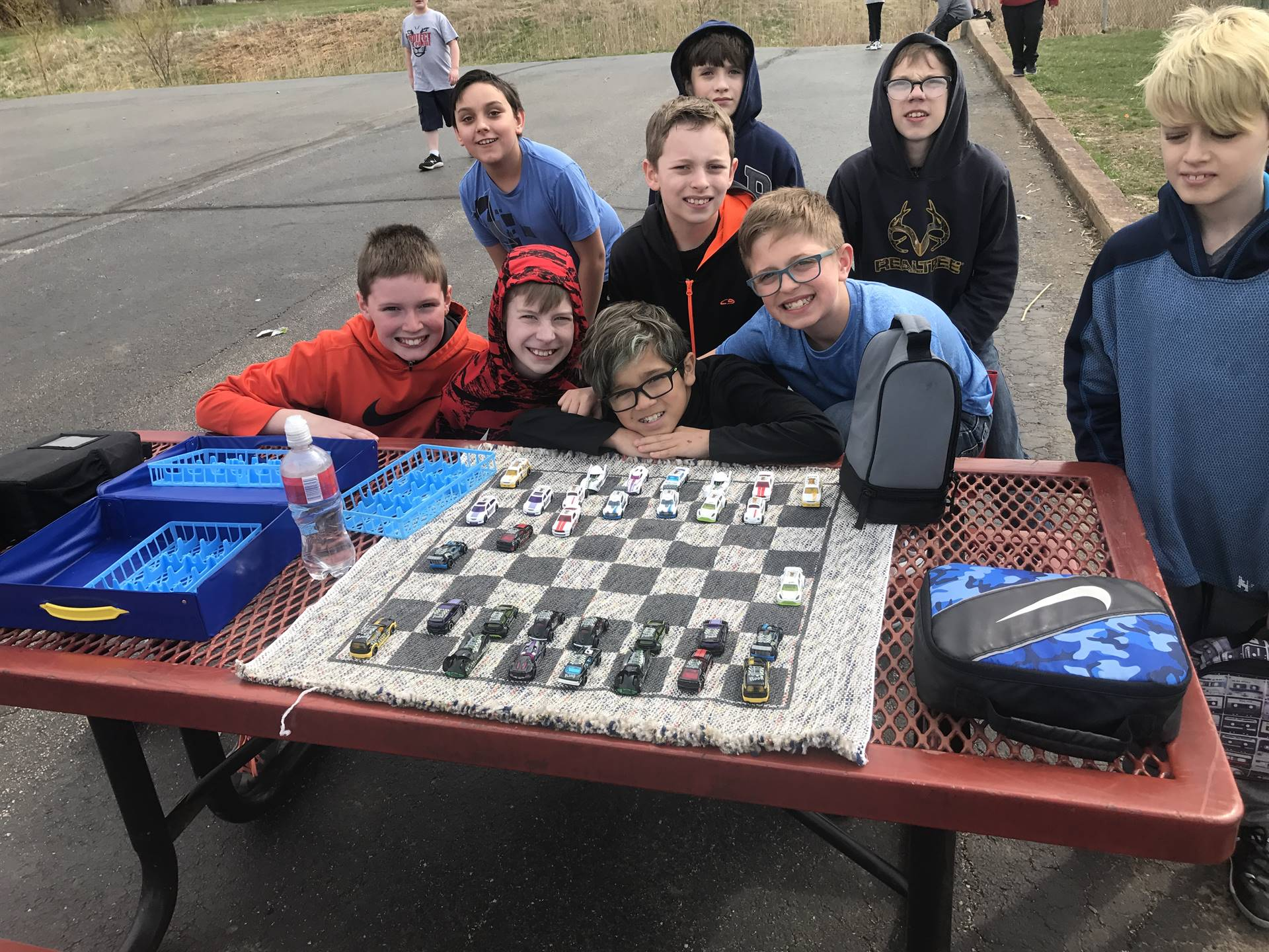 5th grade chess at recess with matchbox cars