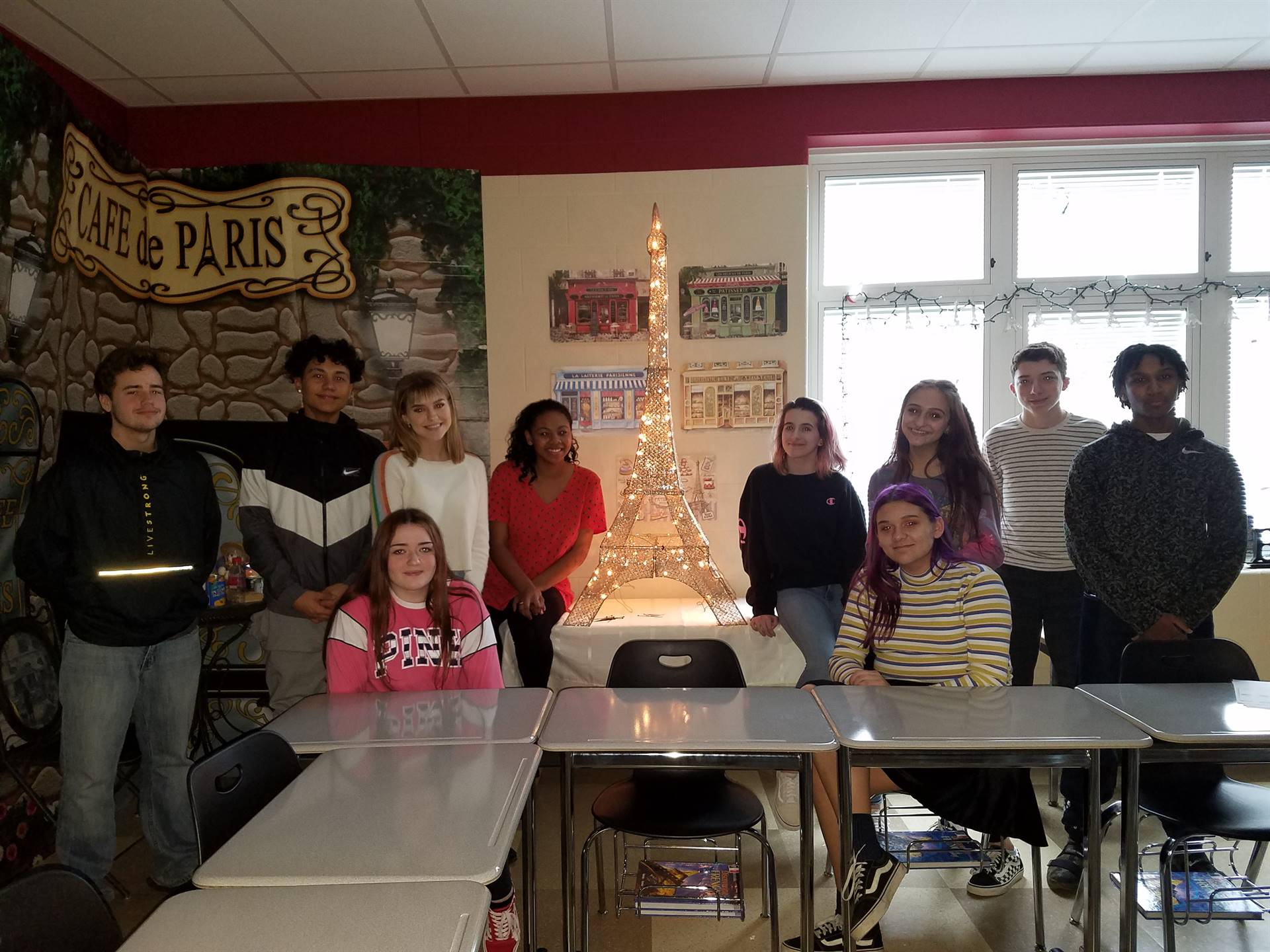 French Students and Their Eiffel Tower