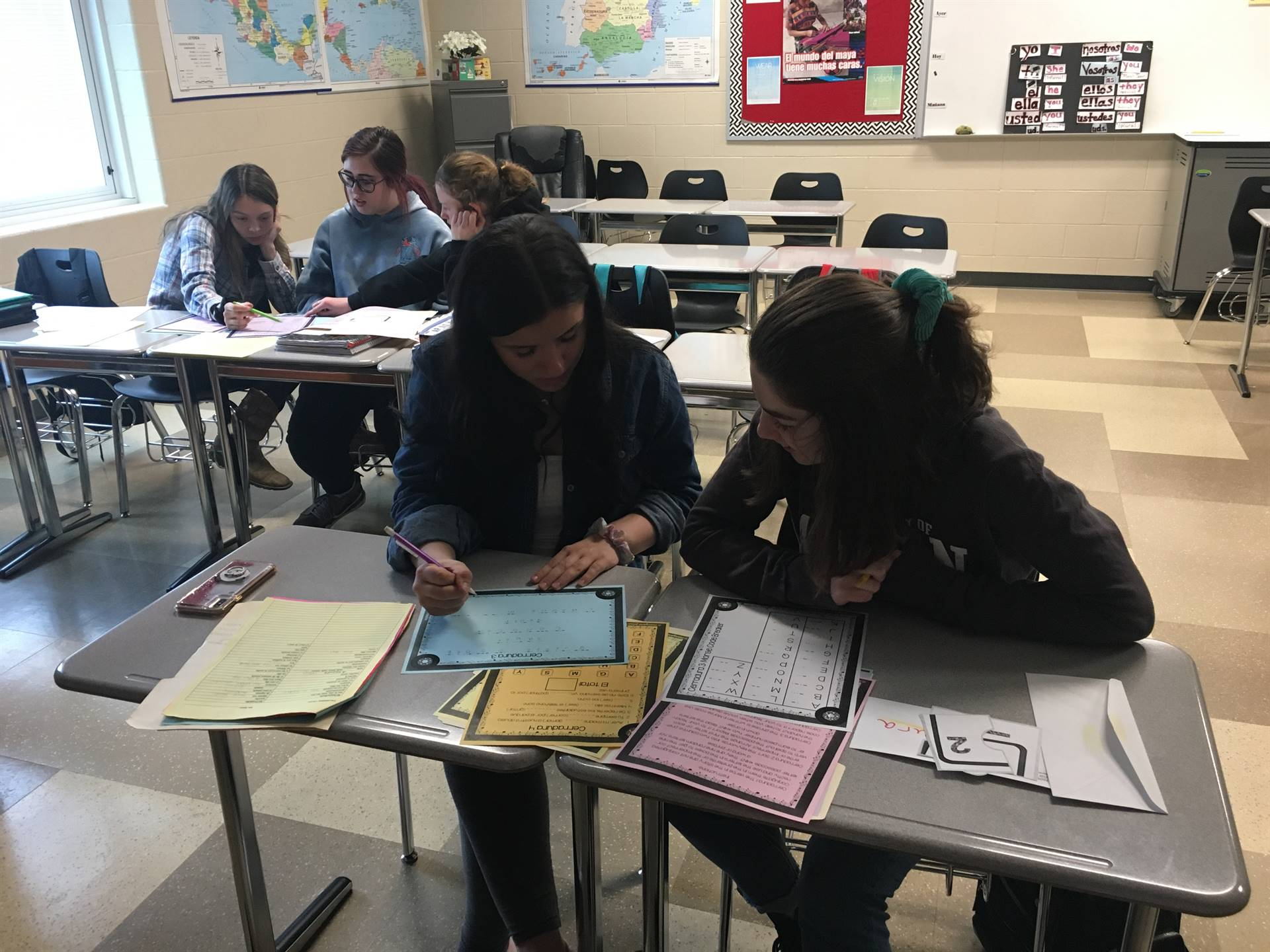 Spanish III Students Completing Escape Room Activity