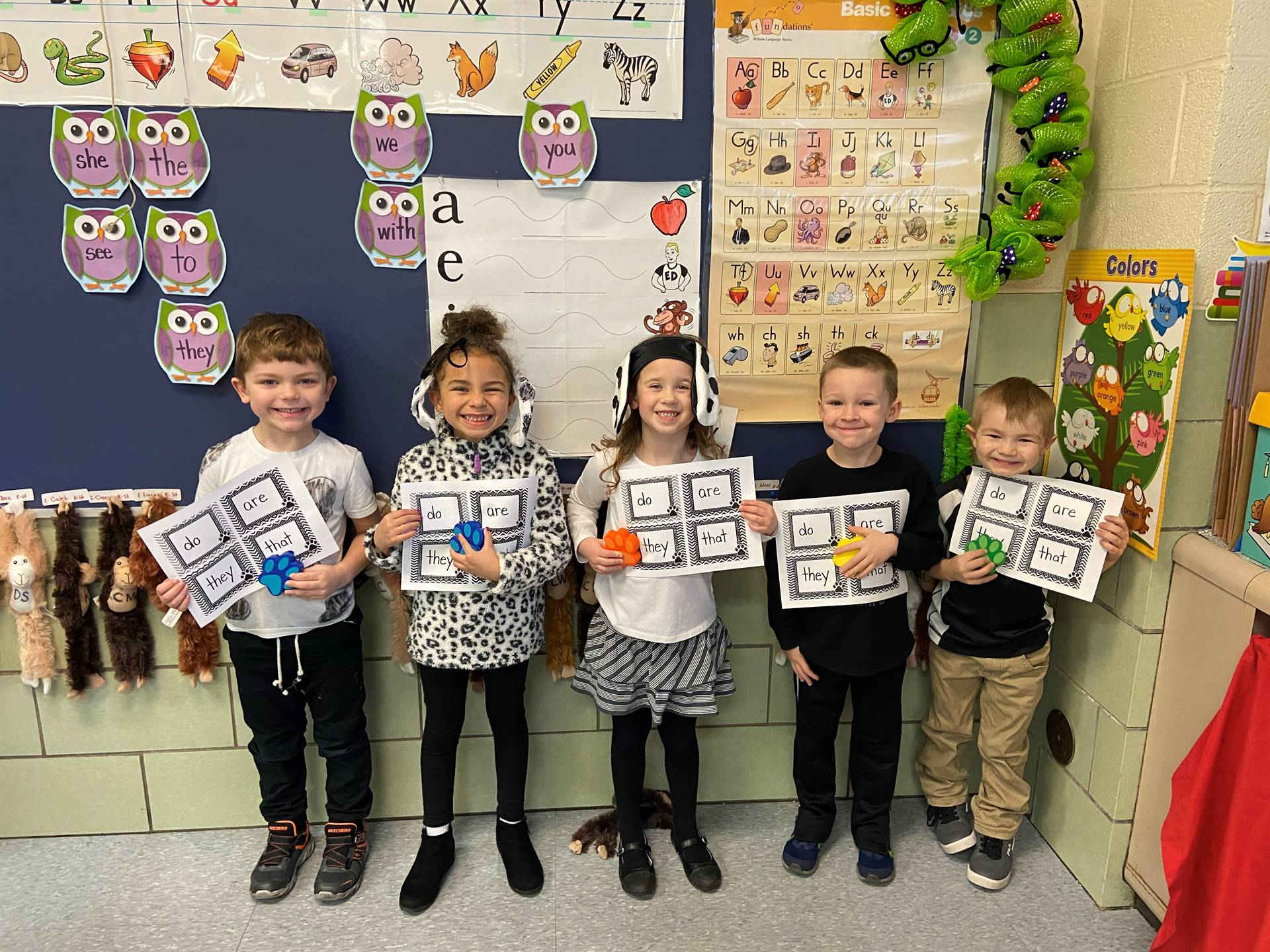 Kindergarten students read their sight words on their 101 (Dalmatian Day) of school!