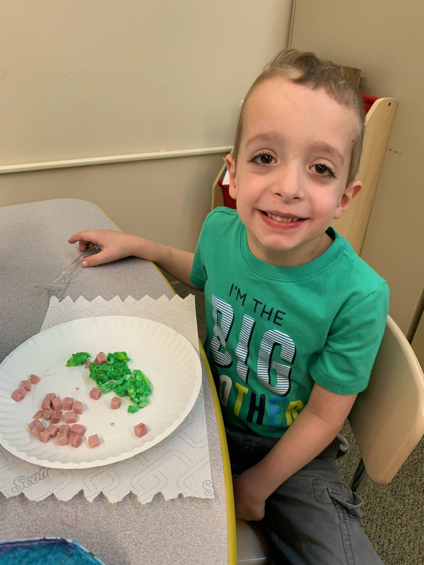 Students in Mrs. Martin's class are trying Green Eggs and Ham!