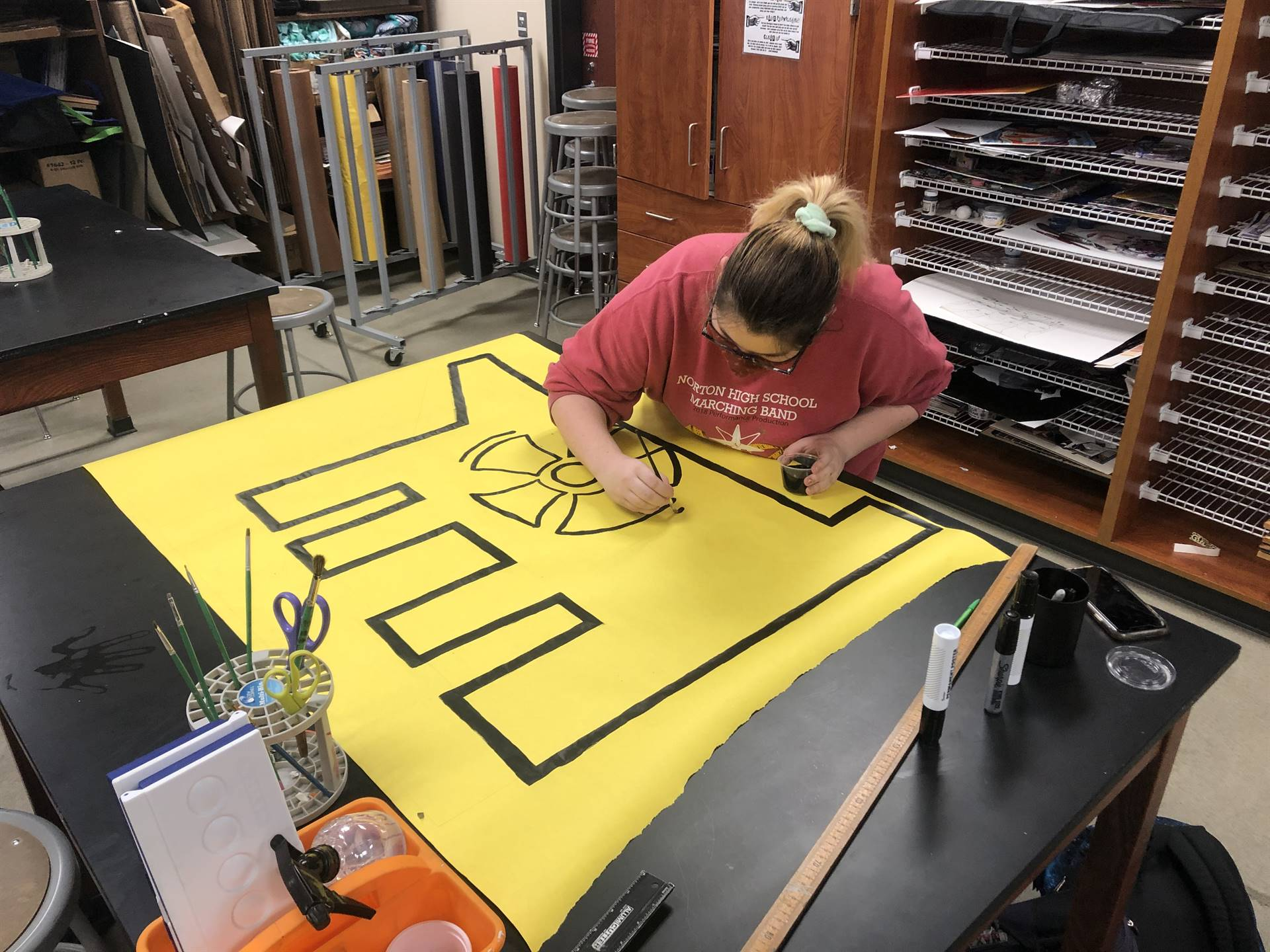 Art Club and Mrs. Levack's classes are teaming up to create Keith Haring inspired hallway art!